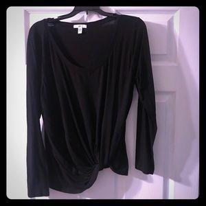New no tags Long sleeve black T-shirt material.